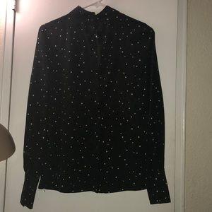 Dress Shirt ( Olive Green w/ blk & white dots )